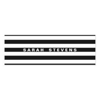 Salón moderno rayado blanco y negro elegante y bal tarjetas de visita mini