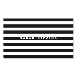 Salón moderno rayado blanco y negro elegante y bal tarjeta de negocio