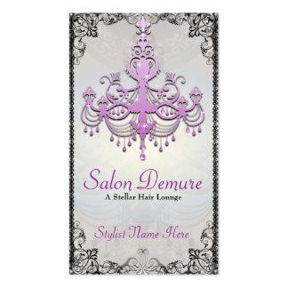 Salón púrpura de plata sofisticado moderno del tarjetas de visita