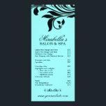 "Salon Rack Card Spa Leaf Floral Blue Black<br><div class=""desc"">Salon Rack Card with pretty leaf swirls great for any spa hair nail salon.</div>"