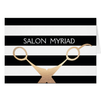 Salón rayado blanco y negro de las tijeras tarjeta de felicitación