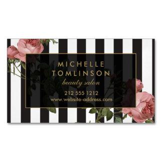 Salón rayado floral del vintage magnético tarjetas de visita magnéticas (paquete de 25)