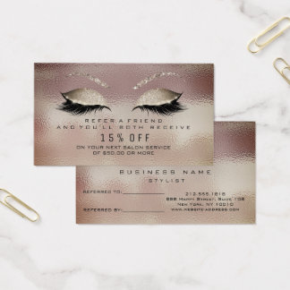 Salon Referral Card Glass Caffe Noir Lashes