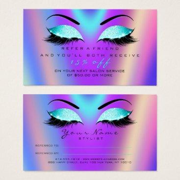 McTiffany Tiffany Aqua Salon Referral Card Glitter Tiffany Pink Lashes