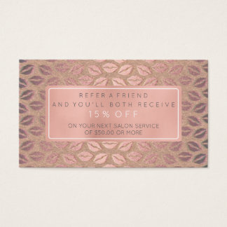 Salon Referral Card Pink Gold Rose White Gray Kiss