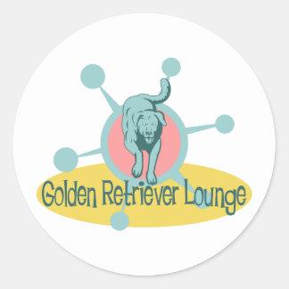 Salón retro del golden retriever pegatina redonda
