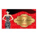 Salón rojo del estilista del damasco de la cebra d tarjetas personales