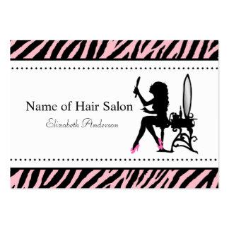 Salón rosado y negro de la mujer elegante de la ce tarjetas personales