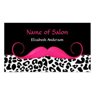 Salón rosado y negro del bigote femenino del tarjetas de visita