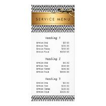 salon service menu black stripes modern chic