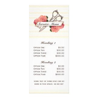 salon service menu scissors vintage floral pink