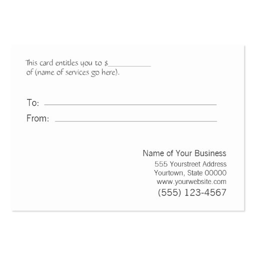 Salon Silver Sequins Black Salon Gift Certificate Business Card Templates (back side)