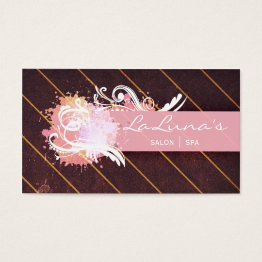 Salon Spa Beauty Nails Grunge Pink Business Card