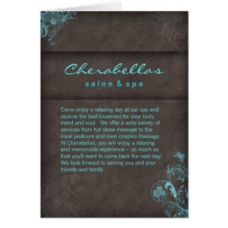 Salon Spa Brochure Blue Taupe Floral card
