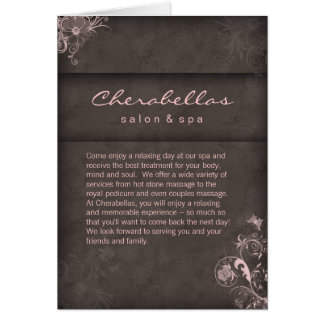 Salon Spa Brochure Pink Taupe Floral Card
