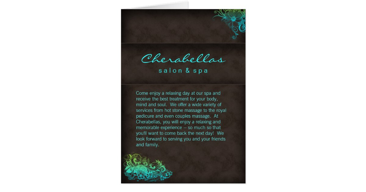 Salon spa brochure turquoise blue green card zazzle for Salon turquoise