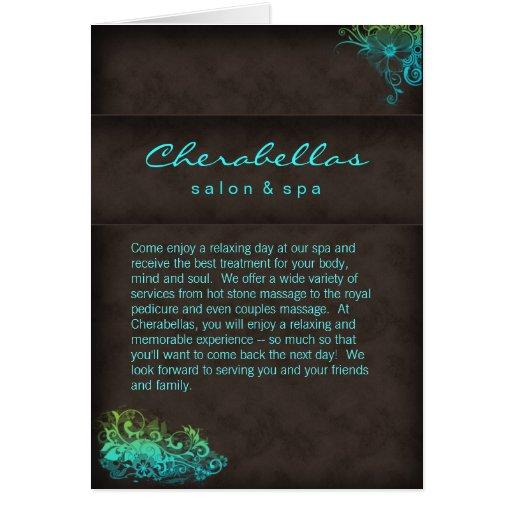Salon Spa Brochure Turquoise Blue Green Greeting Card