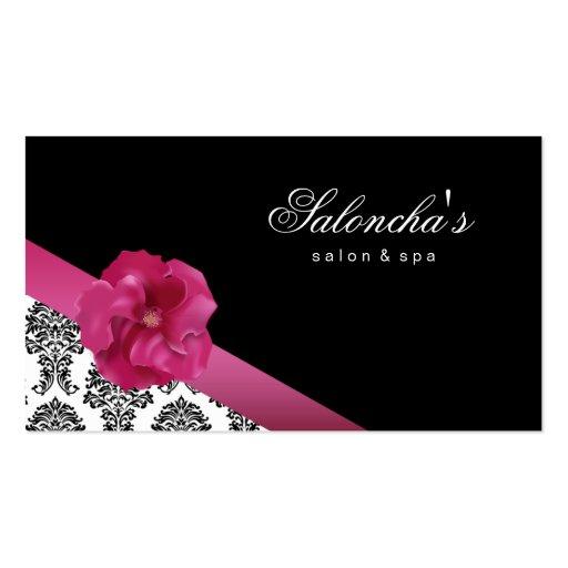 Salon Spa Business Card black pink floral damask