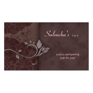 Salon Spa Business Card brown pink aged damask