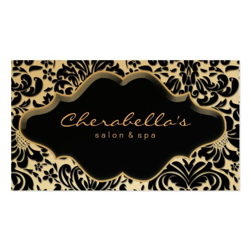 Salon Spa Business Card Gold Finish Damask