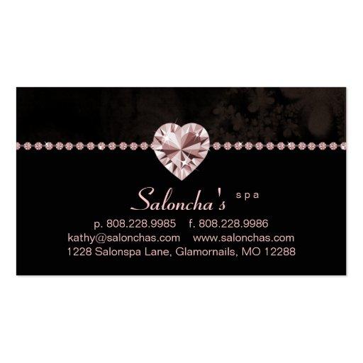 Salon Spa Business Card pink heart rhinestone
