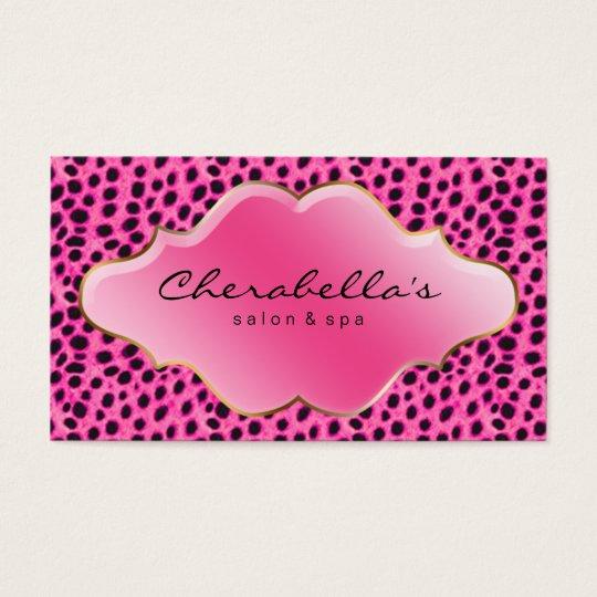 Salon Spa Business Card Pink Leopard