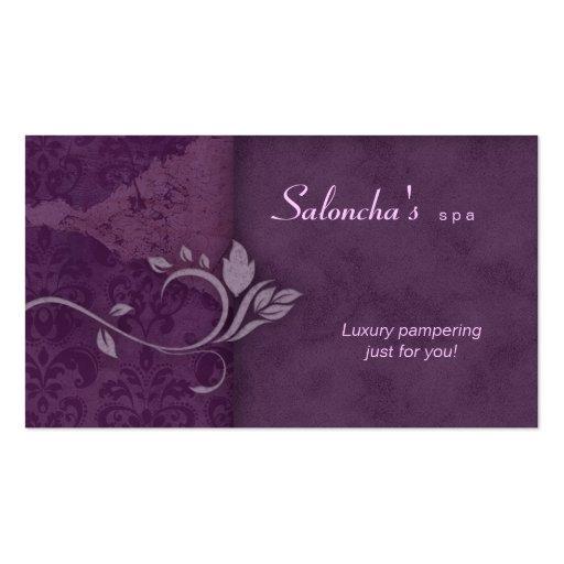 Salon Spa Business Card purple aged damask