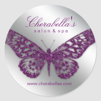 Salon spa butterfly sticker purple silver jewelry