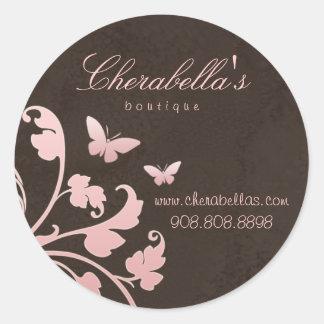 Salon spa butterfly sticker suede pink brown