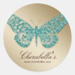 Salon spa butterfly sticker teal gold jewelry