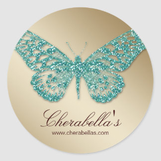 Salon spa butterfly sticker teal gold jewelry