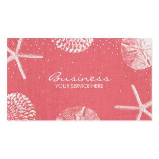 Salon & Spa Coral Red Beach Seashells Business Card