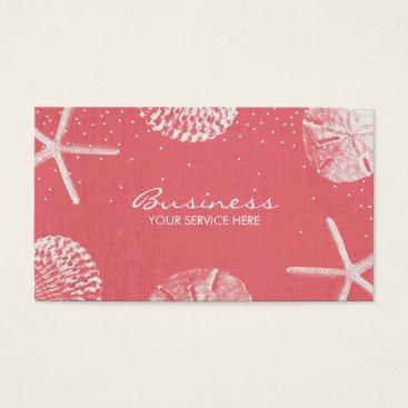 Beach Themed Salon & Spa Coral Red Beach Seashells Business Card