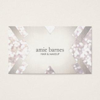 Salon & Spa Festive White Bokeh Silver Geometric Business Card