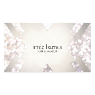 Salon & Spa Festive White Bokeh Silver Geometric Double-Sided Standard Business Cards (Pack Of 100)
