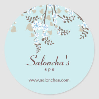 Salon spa floral cherry blossom sticker baby blue