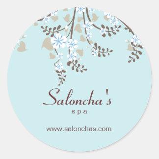 Salon spa floral cherry blossom sticker baby blue