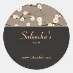 Salon spa floral cherry blossom sticker brown