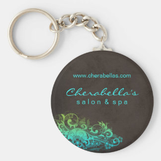 Salon Spa Floral Key Chain Blue Green