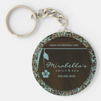 Salon Spa Floral Key Chain Gift damask blue