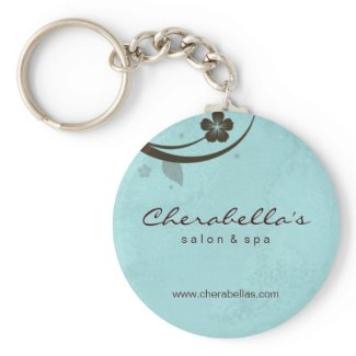 Salon Spa Floral Key Chain Gift watery blue keychain