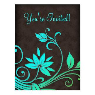 Salon Spa Floral Postcard Invitation BGB