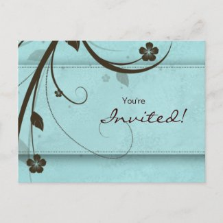 Salon Spa Floral Postcard Invitation watery blue postcard