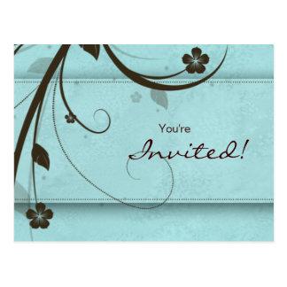 Salon Spa Floral Postcard Invitation watery blue