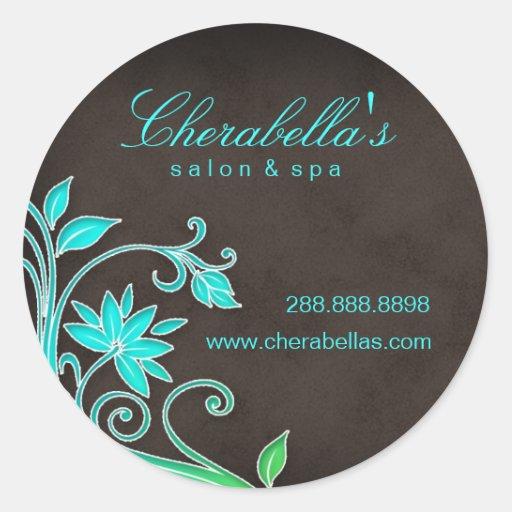 Salon spa floral sticker blue brown zazzle for Stickers salon