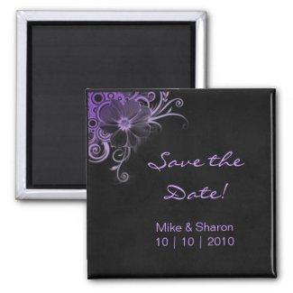 Salon Spa Flower Magnet Black Suede Purple magnet