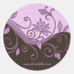 Salon spa flower sticker swirls purple brown jewel