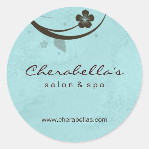 Salon spa flower sticker watery blue brown zazzle for Stickers salon