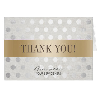 Salon Spa Gold & Silver Dots Business Thank You Card