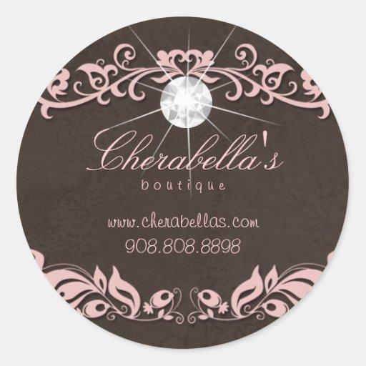 Salon spa jewelry sticker diamond pink brown suede